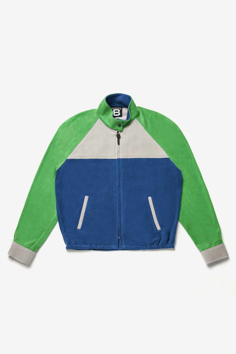 [벤시몽 X 비아플레인] Color Block Training Jacket_Green PER Blue BS0SJK303GN00F