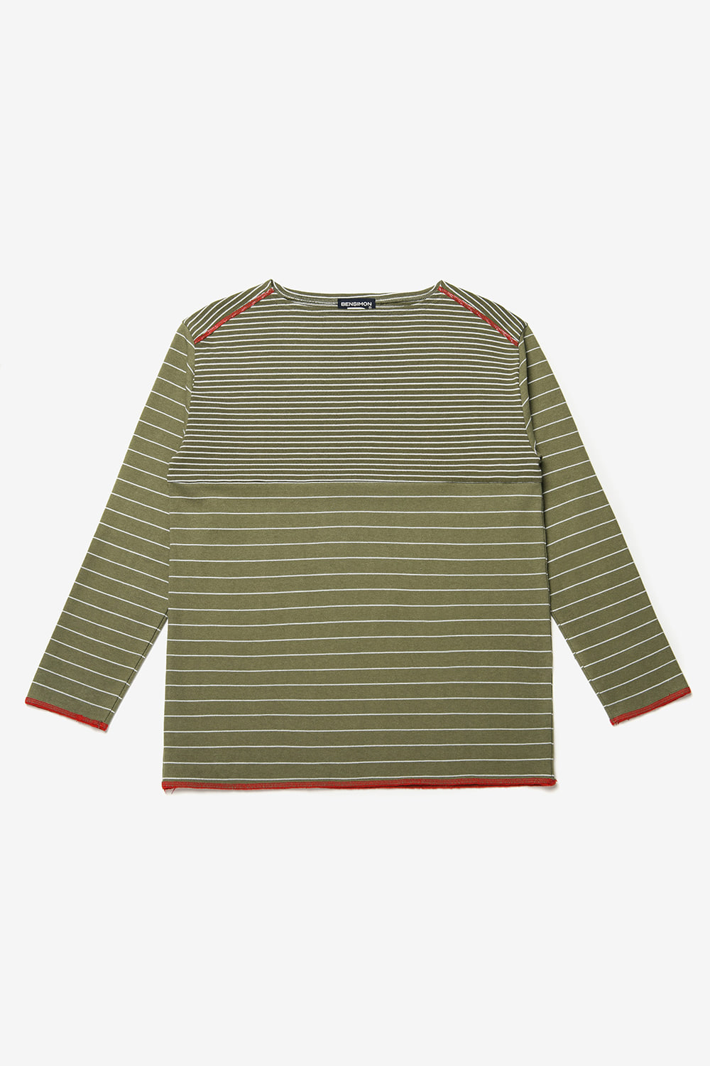 [벤시몽 X 비아플레인] Brush Stripe Long Sleeve_Khaki BS0STL211KH00F