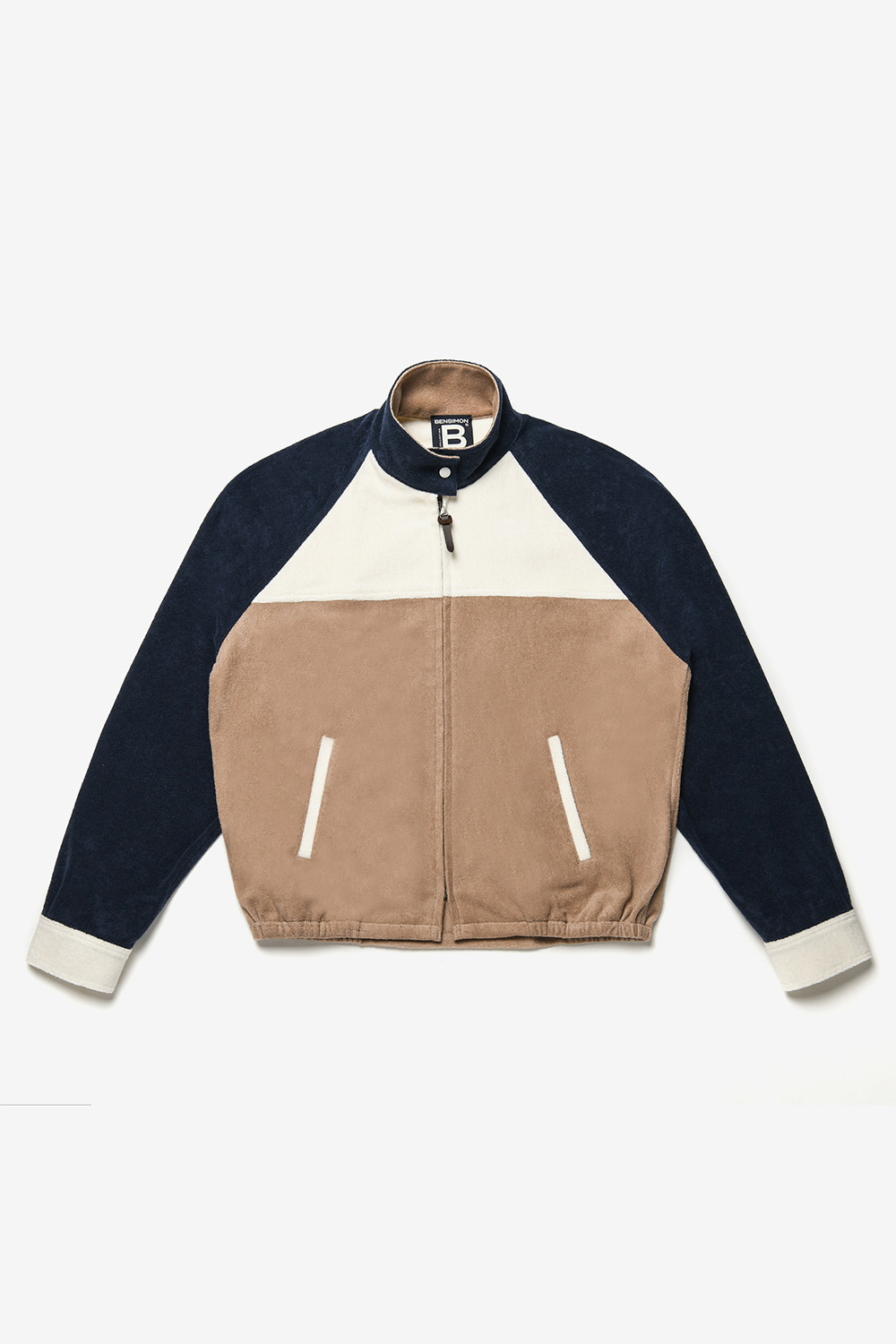 [벤시몽 X 비아플레인] Color Block Training Jacket_Navy PER Beige BS0SJK303NV00F