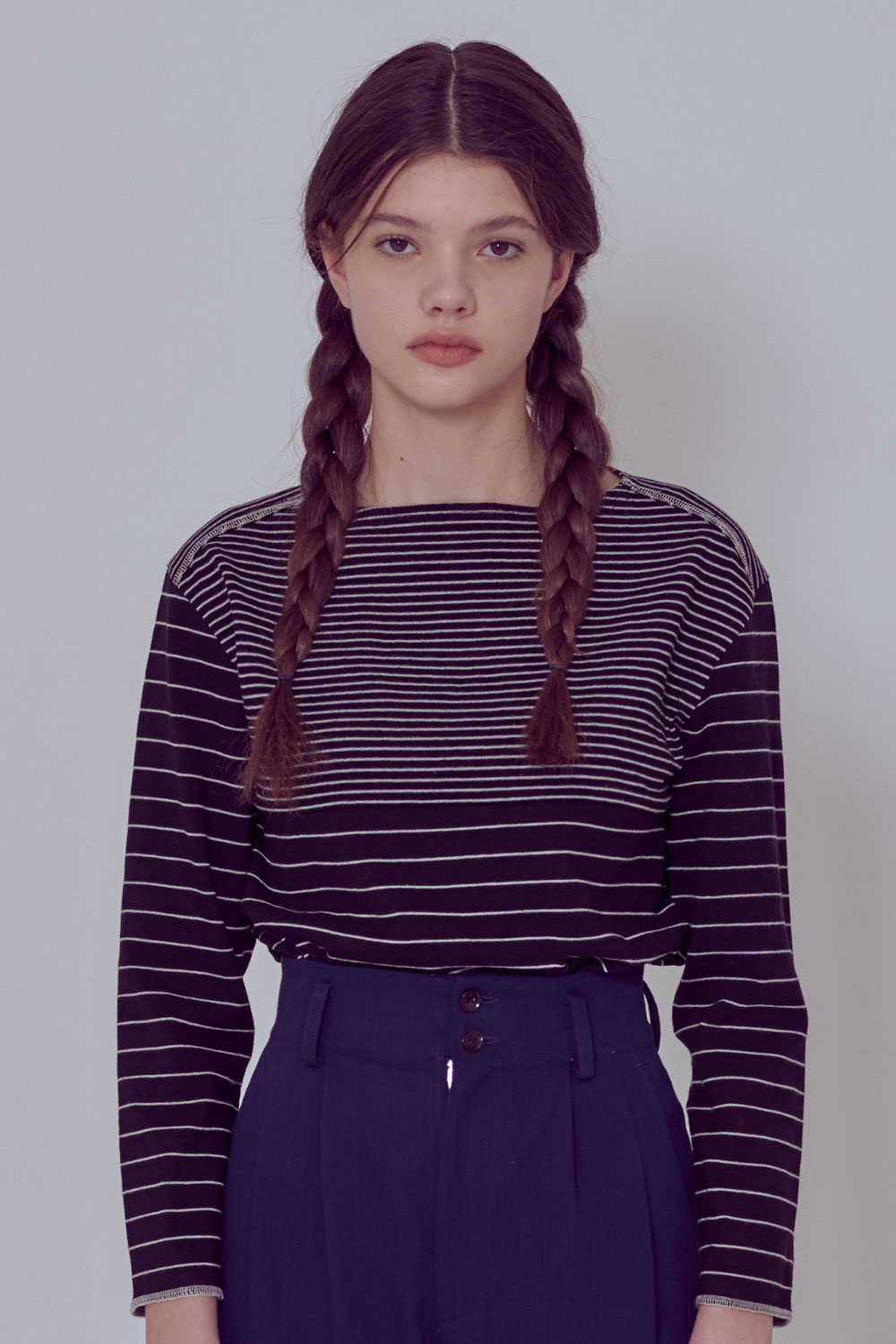 [벤시몽 X 비아플레인] Brush Stripe Long Sleeve_Dark Grey BS0STL211DG00F