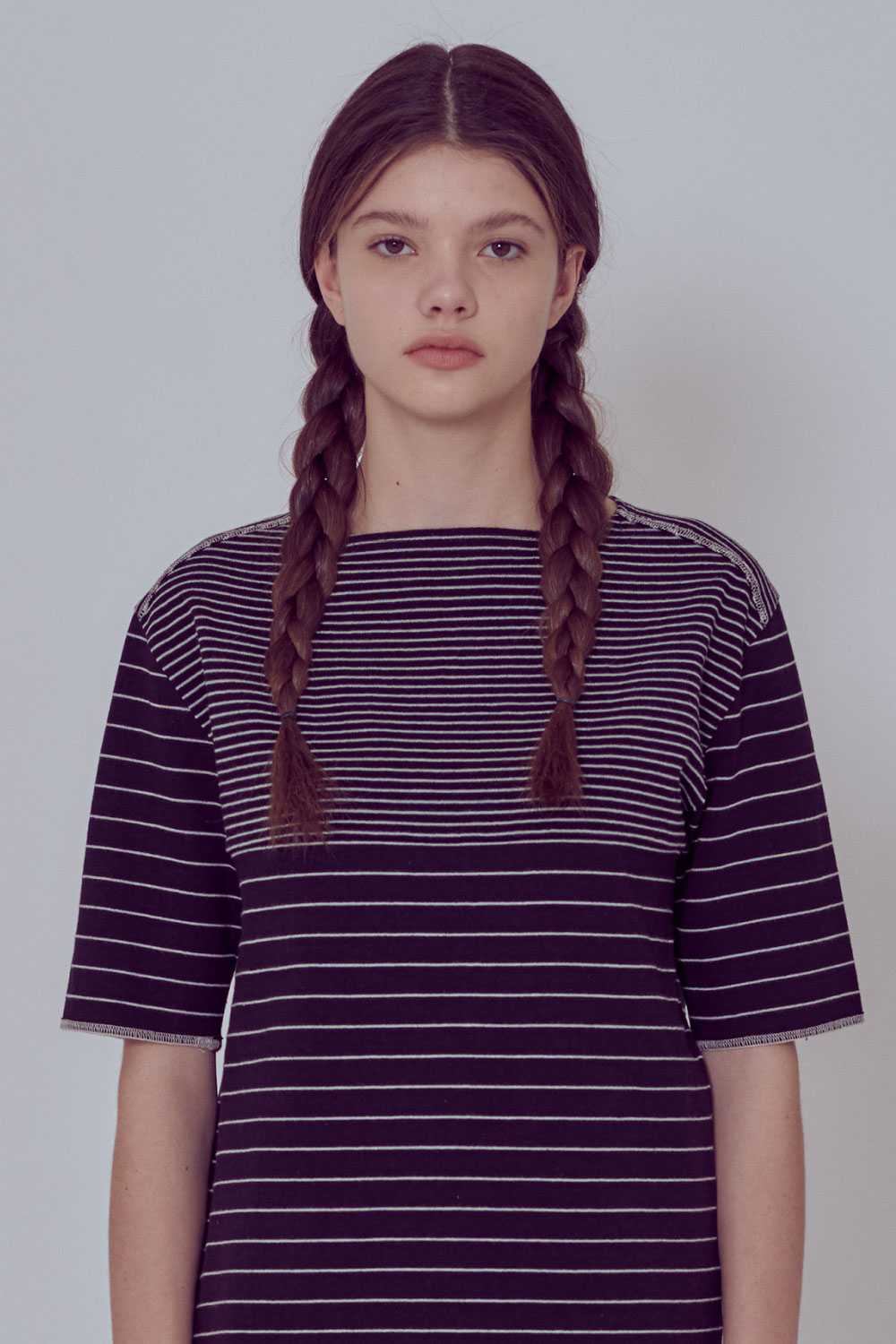 [벤시몽 X 비아플레인] Brush Stripe Short Sleeve_Dark Grey BS0STS216DG00F
